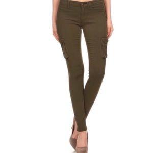 Pants - Olive Skinny Cargo Pants